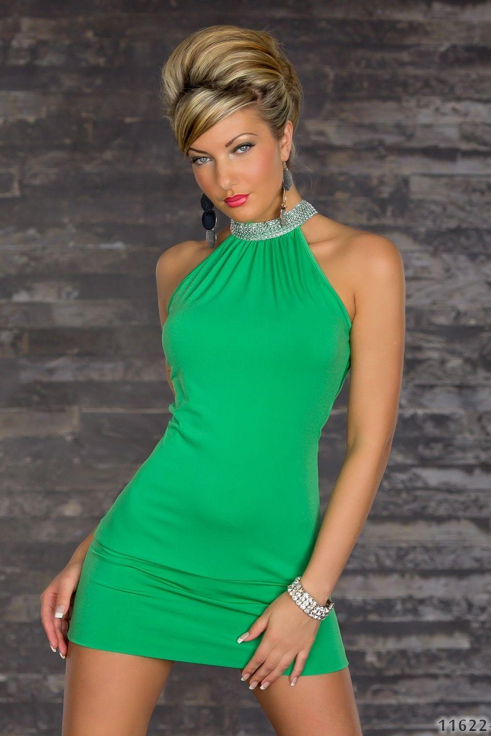 Green High-Neck Rhinestones Dress