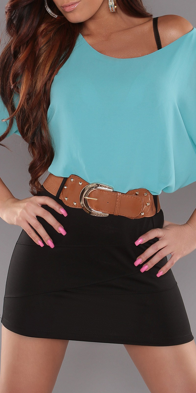 Turquoise Top Black Skirt Off-Shoulder Belted Dress