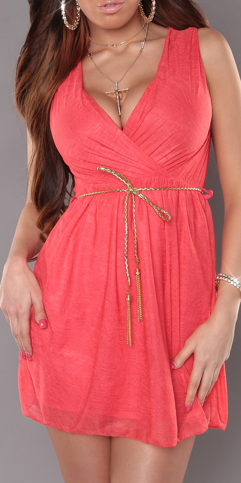 Coral Sexy KouCla Minidress With V-Neck Snd Belt