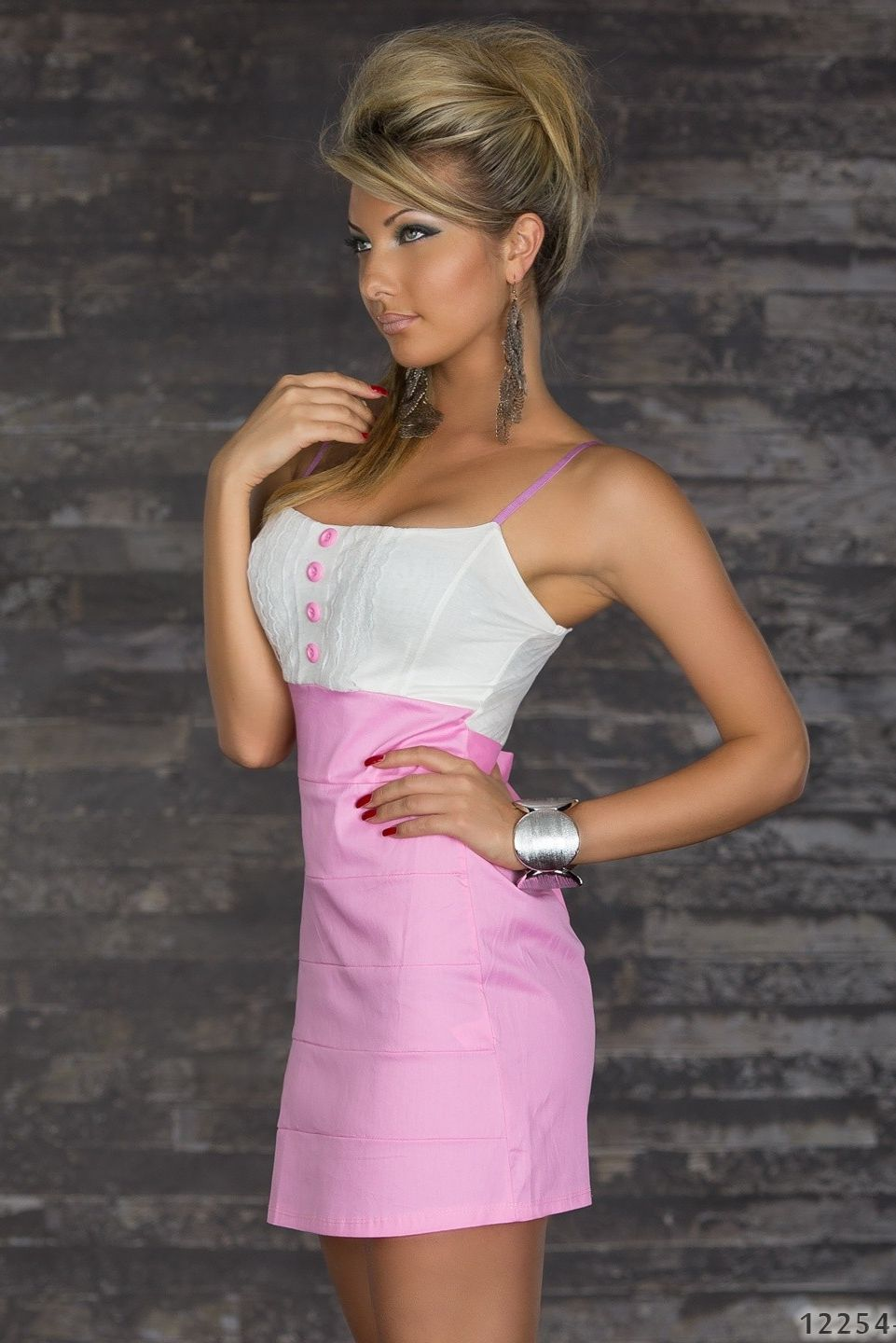 White Pink Spaghetti Straps Dress