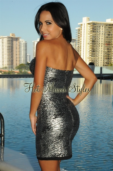 Silver Black Padded Strapless Dress
