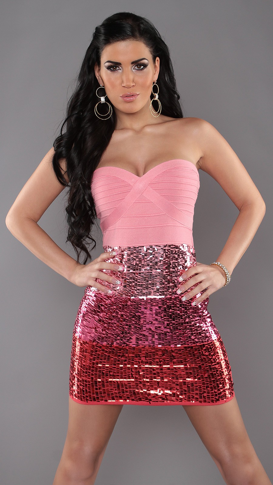 Pink Sexy Bandeau Knitted Dress With Sequins