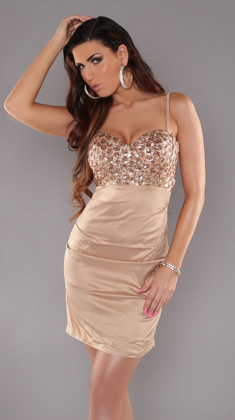 Beige Sexy Cocktail Dress With Sequins