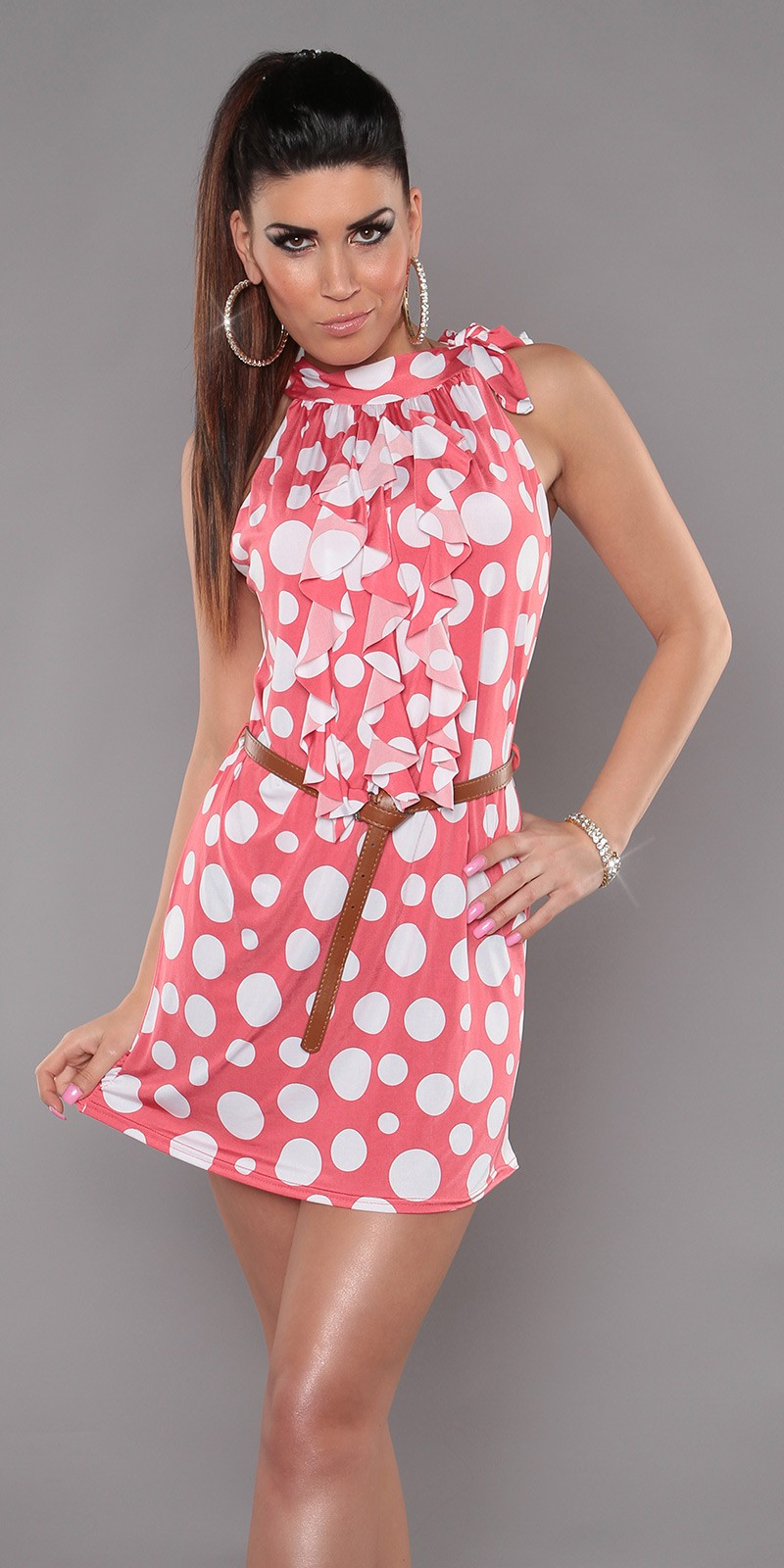 Strawberry Sleeveless Ruffled Polka Dot Belted Dress