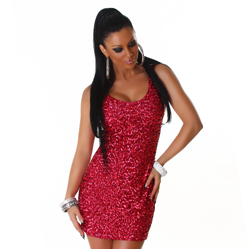 Red Sequined Sleeveless Club Dress
