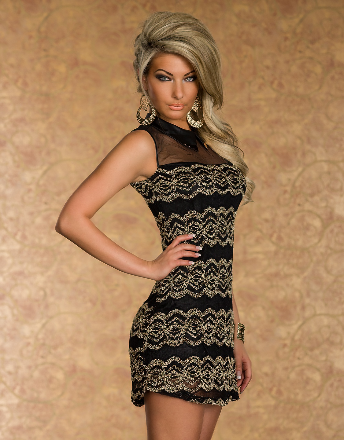 Gold Lace Sleeveless Mesh Dress With Gold Collar