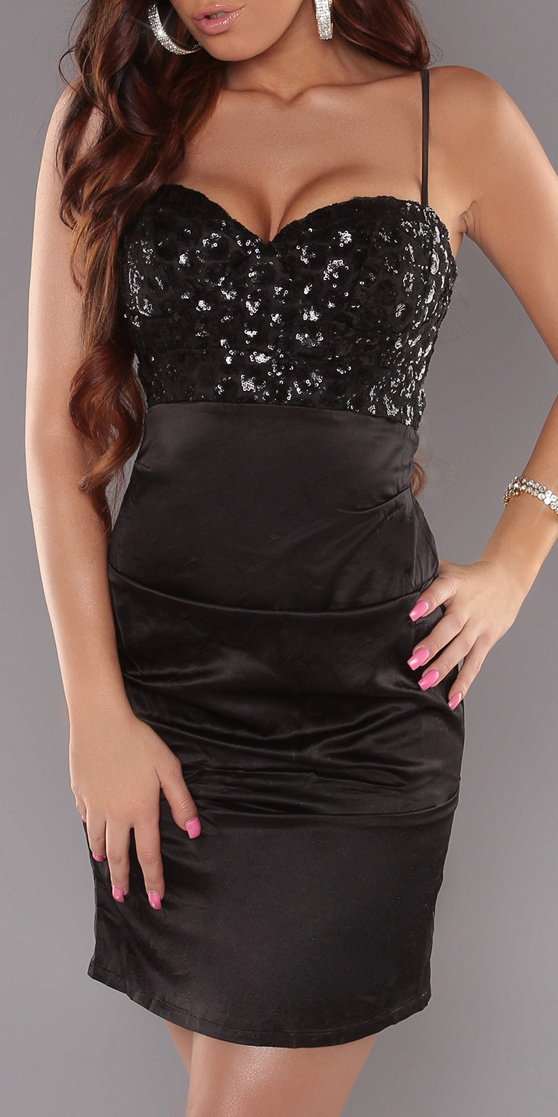 Black Sexy Cocktail Dress With Sequins