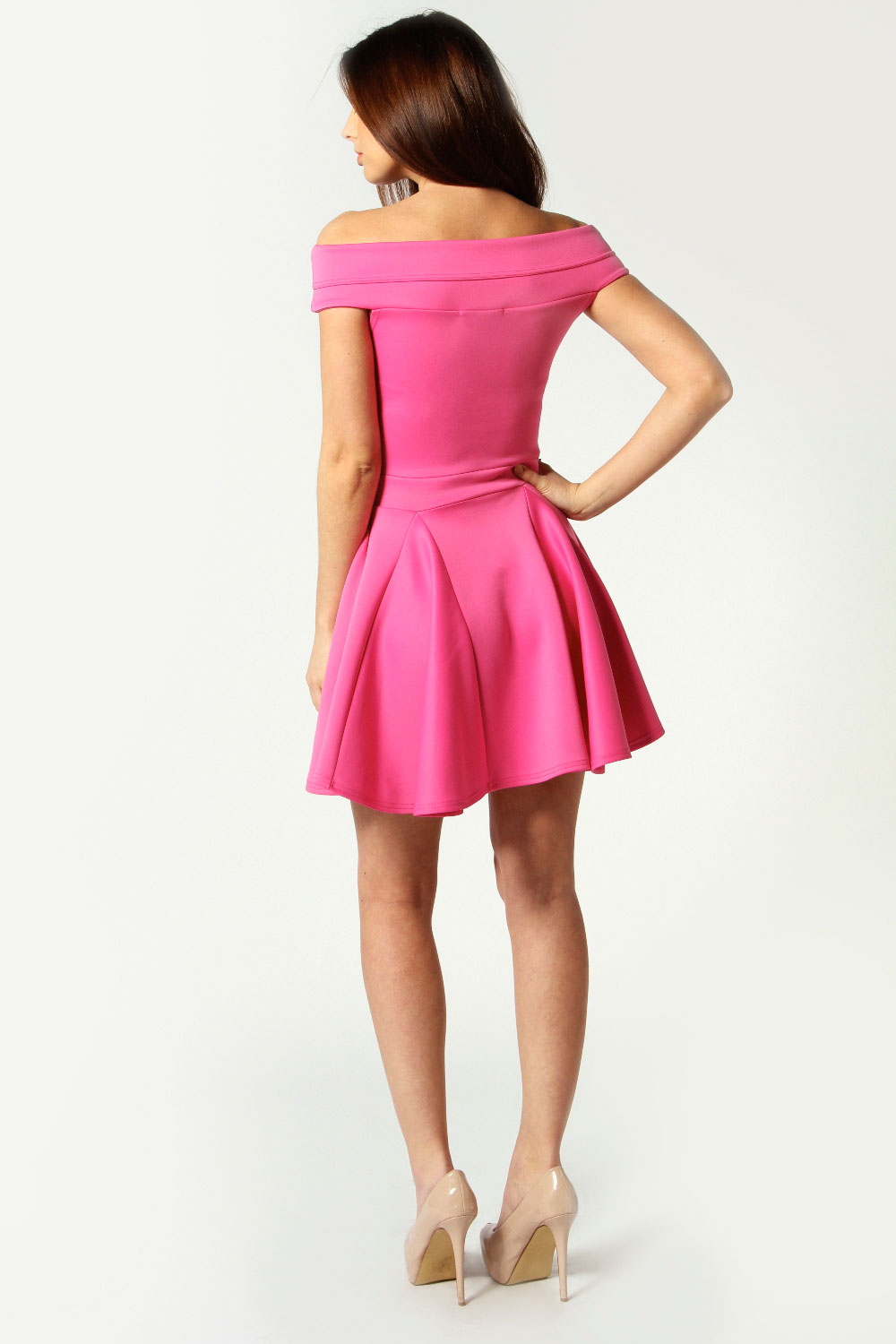 Pink Sara Seam Detail Off The Shoulder Skater Dress