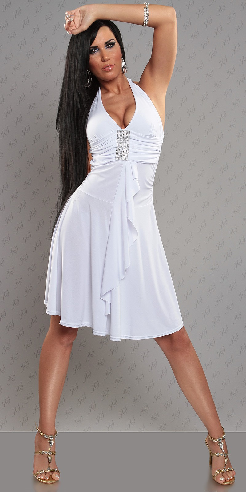 White Halter Rhinestone Accent Evening Dress