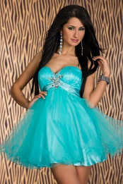 Turquoise Babydoll Puffy Lace-Up Prom Dress On Thin Straps