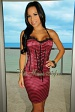 Fuchsia Black Plaid Corset Padded Dress