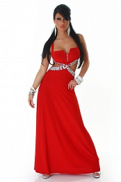 Red Naked Back Rninestoned Long Evening Dress