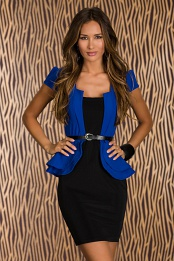 Black-Blue Belted Double Peplum Dress