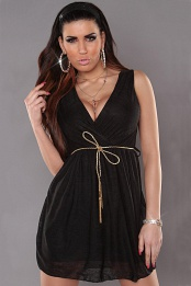 Black Sexy KouCla Minidress With V-Neck Snd Belt