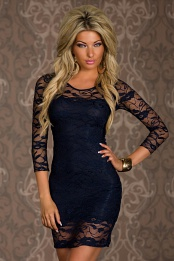 Navy 3/4 Sleeves Short Lace Dress