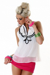 White Sleeveless Blouse With Ruff
