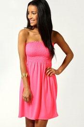 Pink Lucy Shirred Bandeau Short Beach Dress