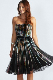 Black-Multicolor Sarah Jacquard Floral Organza Prom Netted Dress