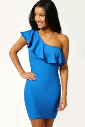 Blue Felicity One Shoulder Textured Bodycon Dress