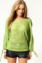 Green Daisy Lace Up Shoulder Oversized Jumper