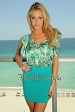 Green Print Ruffle Silk Top Teal Bandage Dress