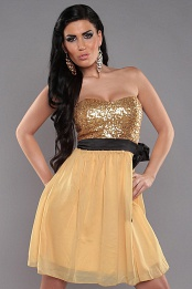 Gold Sexy Bandeau Dress With Sequins And Loop