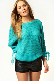 Blue Daisy Lace Up Shoulder Oversized Jumper