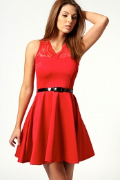 Red Nadine Scallop Lace Belted Skater Dress
