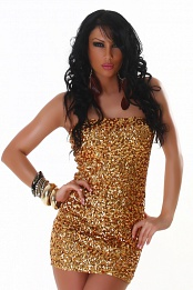 Gold Sequined Strapless Club Dress