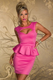 Pink Breast Cut-Out Bodycon Peplum Dress