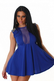 Blue Studded Epaulets Short Dress With Semi-Sheer Insets
