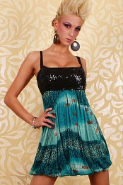 Black Green Sequins Babydoll Bubble Dress