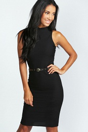 Black Toni Textured Fabric Stud Belt Midi Dress
