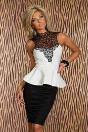 Black-White Peplum Dress With Lace Top