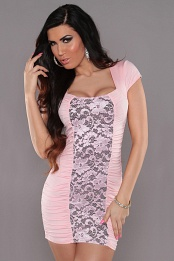 Pink Square Neck Dress With Lace Insert
