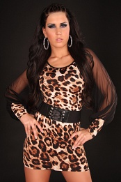 Leopard Belted Club Dress With Transparent Sleeves