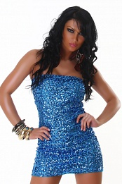 Blue Sequined Strapless Club Dress