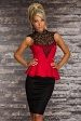 Black-Red Peplum Dress With Lace Top