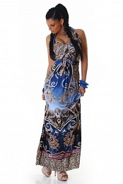 Blue Ornament Halter Long Summer Dress