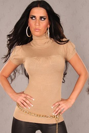 Beige Sexy Short Arm Knitted Turtle Neck Jumper