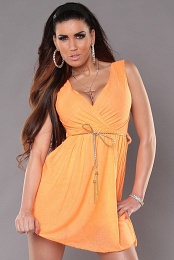 Orange Sexy KouCla Minidress With V-Neck Snd Belt
