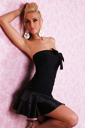 Black Strapless Ruffled Bottom Dress With Bow