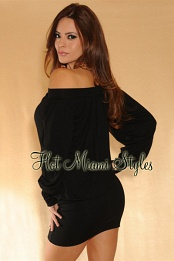 Black On/Off Shoulder Tunic Dress