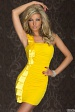 Yellow Ruched Atlas Ribbons Dress