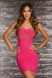 Pink Strapless Studded Short Knitted Dress