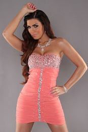 Coral Slinky Strapless Evening Dress With Rhinestones