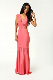 Coral Eva Crossover Front Fishtail Maxi Dress