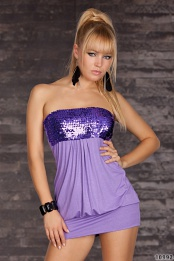 Purple Sequined Strapless Club Dress