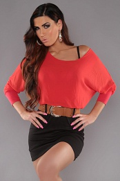 Red Top Black Skirt Off-Shoulder Belted Dress
