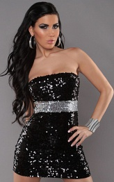 Black Sexy Bandeau-Minidress With Sequins